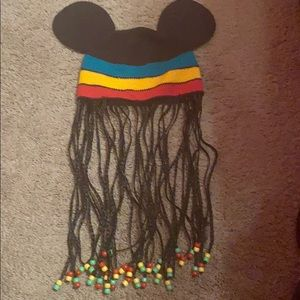 Mickey Mouse adult knit cap with Rastafarian beads